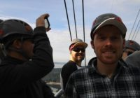 Riding on top of the gondola at Grouse Mountain