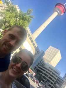 Selfie with Janine in front of the Calgary Tower